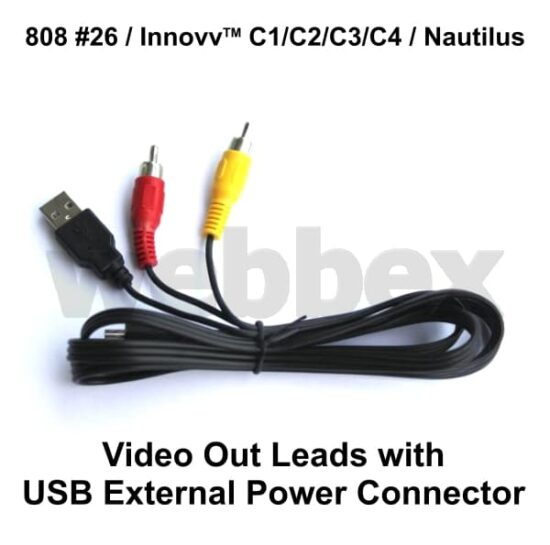 808 #26, Innovv & Nautilus Video Out Leads with External Power Connector